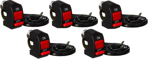 ERH India (Pack of 5) Bike Handlebar On/Off Switch Accident Hazard Light Double Control Switch Button Handle Bar for Fog Lamp, Lights (Universal for Bikes) Electronic Components Electronic Hobby Kit