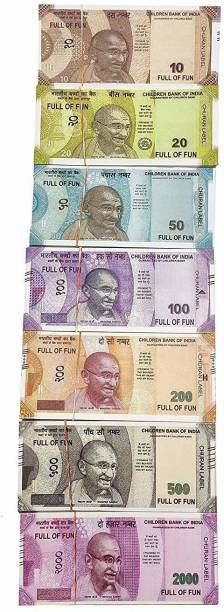 Bizmen Dummy Currency 350 Note for Kids 50 Units Each Denomination All New 10 | 20 | 50 | 100 | 200 | 500 | 2000 Artificial Playing Currency, Learn Money Skills, Fake Money, Dummy Note Fake note Gag Toy