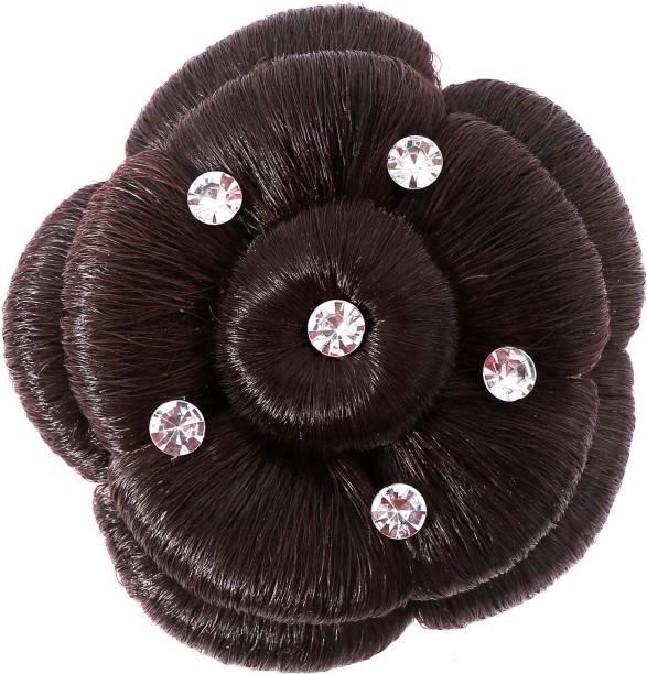 Shivarth Black Color Artificial Juda Hair Accessories For Women and Girls with Stone Work Juda For Festive Designer Stone Bridal Wedding Juda Bun