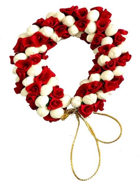 GadinFashion New Artificial Flower Gajra Juda/Accessories Bun For Women, Grils, Color-Maroon, Pack-01 Bun