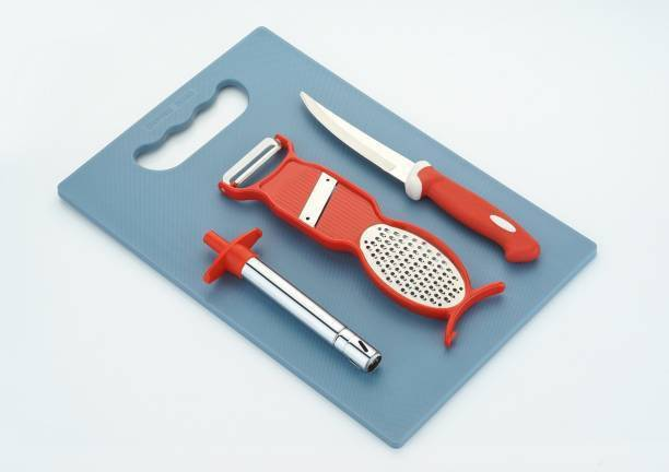LOOZITO Kitchen Combo-015- 4 - Pcs Cutting Utility Combo Of 1 Chopping Board, 1 Gas Lighter, 1 Grater 2 in 1 And 1 Knife Red Kitchen Tool Set