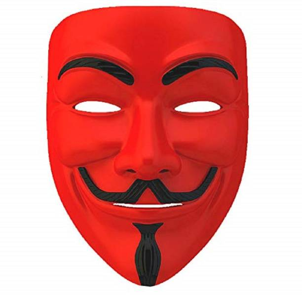 Dany Internationals V for Vendetta Comic Face Anonymous (Red) Gift Set Party Mask (Red, Pack of 1) Party Mask