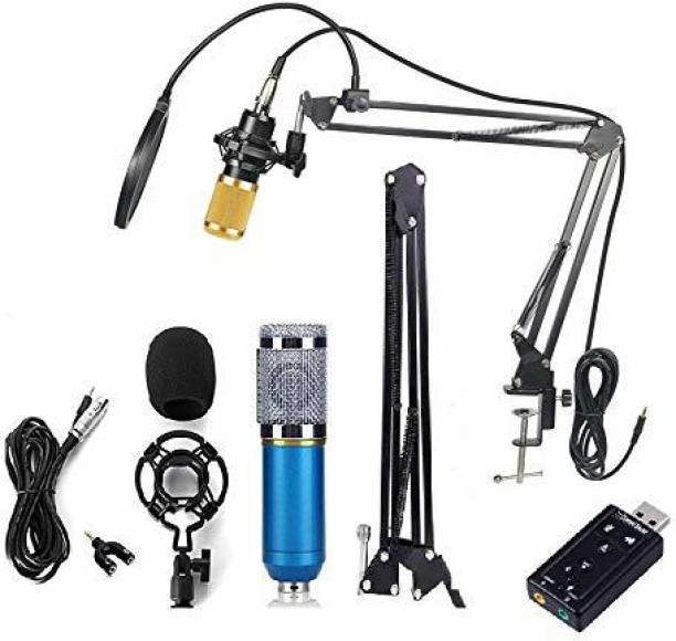 TechBlaze Professional Studio Recording Condenser Microphone Kit with Sound Card, Arm Stand, Pop filter & 3.5mm Audio XLR Cable BM800 Dynamic Mic set For Studio Recording Singing, Podcast & Youtube P mic + sound card