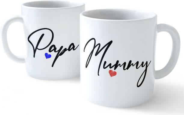 Ashani creation Anniversary Gift for Mom and Dad Coffees Set - Papa and Mummy Quotes Printed White Ceramic Ceramic Coffee Mug