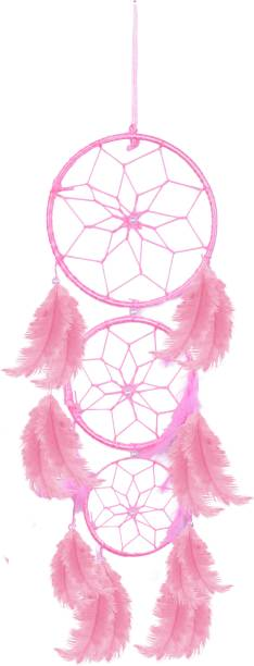 Ryme Car And Room Hanging Baby Pink 3 Rings Dream Catcher Wall Hanging Wool Dream Catcher