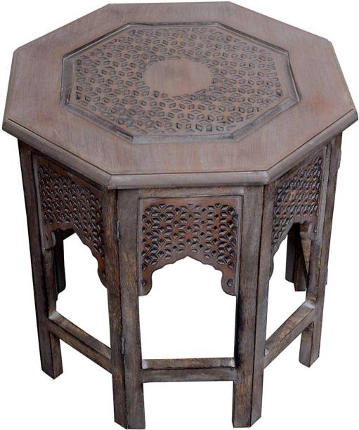 Artesia Wooden Handcrafted Carved Solid Folding Grey Coffee Table Solid Wood Side Table Solid Wood Side Table