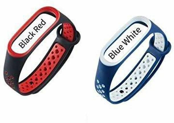 PORTLIX Two-tone Soft Silicone Watch Strap Replace Part for Xiaomi Mi Band 3/4 Replacement Watch Bands Soft Silicone Lightweight Ventilate Sport Wristband Wrist Strap(02PCS COMBO) Smart Band Strap