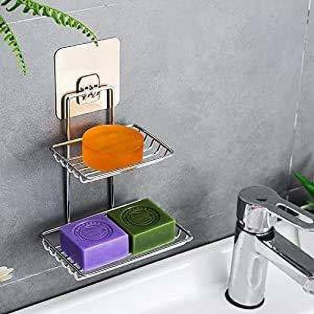 Aarti fashion Wall Mounted Double Layer soap Dish Holder Stainless Steel Wall Hanging Soap Storage Rack for Kitchen Bathroom-with Self Adhesive Magic Sticker(Silver)