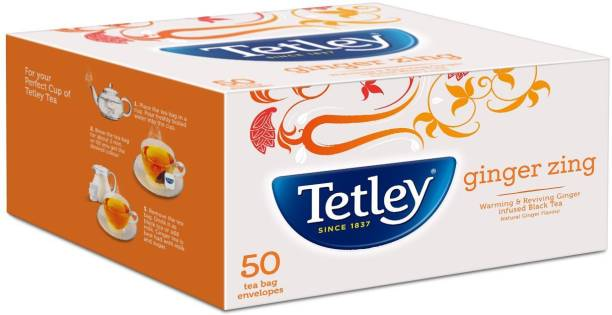 tetley Flavour Tea Bags Natural Ginger zing 50s Infusion Tea Bags Box