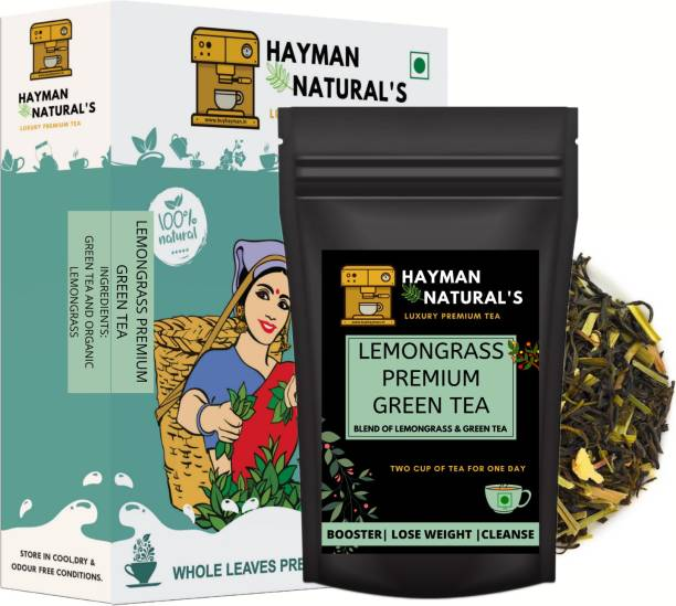 HAYMAN NATURAL'S Lemongrass Green Tea (82 Cups) Antioxidants Rich for Weight Management Lemon Grass Green Tea Pouch