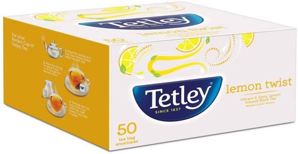 tetley Lemon Tea Bags - 50 Envelopes Black Tea Bags Box