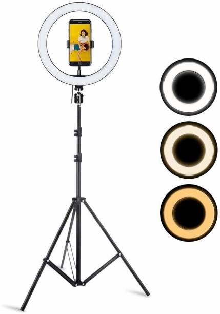 Wrapo 10 Inch Ring Light With Tripod Stand In 3 Modes Adjustable Light Dimmable Light For smartphone With Phone Holder For Youtube Tik tok Video Live Photo Studio make up Tripod Ring Flash