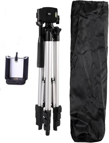 BUY SURETY New Collection High Quality Tripod-3110 Portable Adjustable Aluminum Lightweight Camera Stand With Three-Dimensional Head & Quick Release Plate For Video Cameras and mobile 360 Degree Mobile Stand Holder Tripod Compatible All Smartphone Best Use for Make Videos Tripod, Tripod Kit, Tripod Ball Head