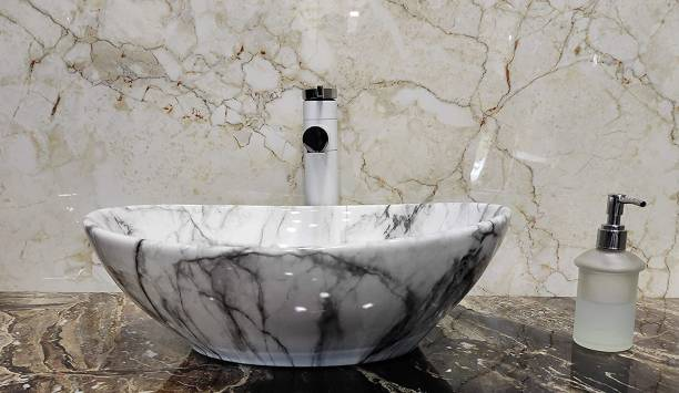 Tap & Tile MOST Wash Basin Countertop, Tabletop Ceremic Bathroom Sink/Basin, 410x340x145mm (White Marble) Table Top Basin