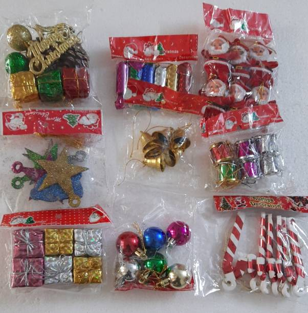 MEventos Christmas Tree Decoration combo set Hanging Ornaments Pack of 55
