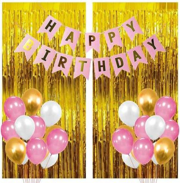 HERDEM Solid 1 Pink Happy Birthday Banner+2 Pc Gold Fringe Curtain+30 Pcs Mettalic Balloon Balloon