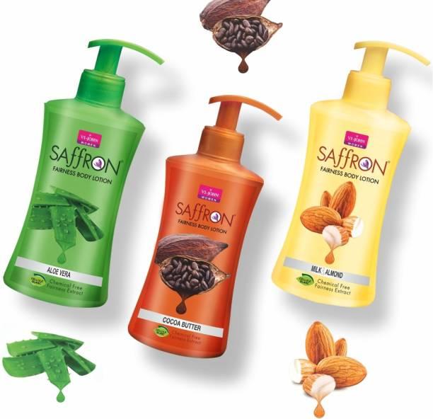 VI-JOHN Body Lotion Combo of 3 | 250 ml Each | For Men and Women | All Skin Types | Milk & Almond | Aloe Vera | Cocoa Butter