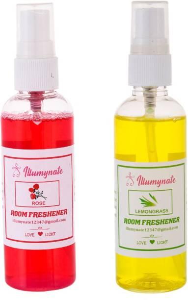ILLUMYNATE Lemon Grass Rose Room Air Freshener Room Perfume Spray for Kitchen Bathroom Car Spray