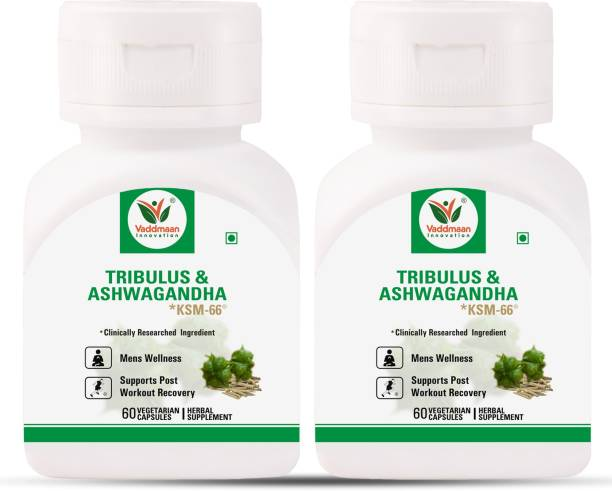 vaddmaan Tribulus and Ashwagandha *ksm-66® 120 Capsule (Pack of 2)