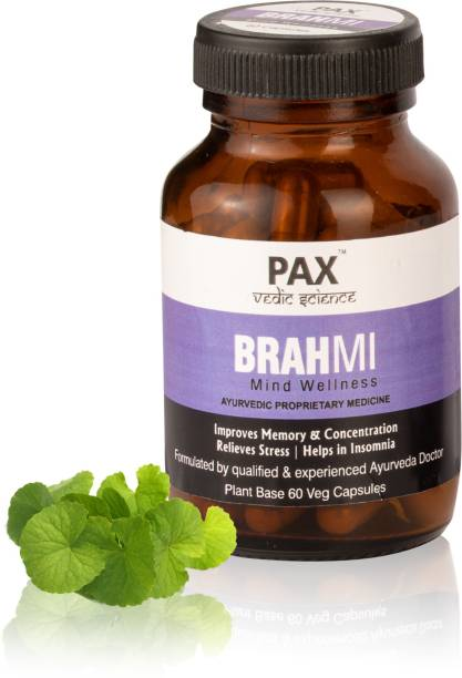 PAX Vedic Science Brahmi Vati Tablets Brain Health Supplement for Memory Improvement and Relieves Stress, Plant base