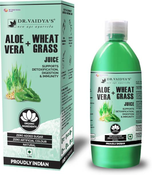 Dr. Vaidya's Aloevera and Wheatgrass Juice - Supports Detoxification , Digestion & Immunity (1 LTR) - Vegetarian , Zero Added Sugar