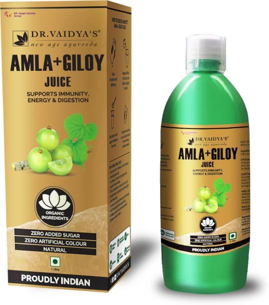 Dr. Vaidya's Amla and Giloy Juice - Supports Immunity , Energy & Digestion (1 LTR) - Vegetarian , Zero Added Sugar