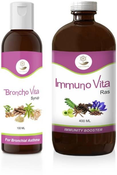 EARTHY BOON Ayurvedic Broncho Vita Syrup & Immuno Vita Ras Combo for Respiratory Wellness & Immunity