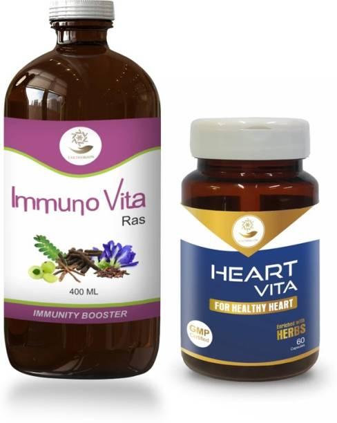 EARTHY BOON Heart Vita Capsule & Immuno Vita Ras Combo for Healthy Heart & Immunity
