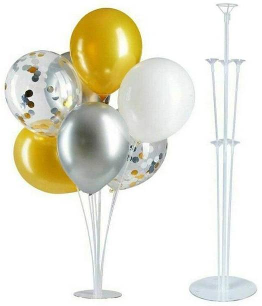 Balloonistics Solid Balloon Stand, Set of Clear Table Desktop Balloon Holder with 7 Balloon Sticks, 7 Balloon Cups and 1 Balloon Base for Birthday | Wedding Party, Holidays, Anniversary Decorations Balloon Balloon Bouquet