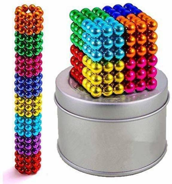 Devta Multi-Colored Magnetic Balls for Home,Office Decoration & Stress Relief etc | MagnetsToys Sculpture Building Magnetic Blocks Magnet Cub (216 Multi-Colored Balls,5mm)
