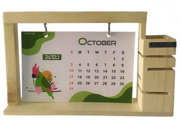 Xreative XR1411 Desk Calendar with Pen Stand 2021 Table Calendar