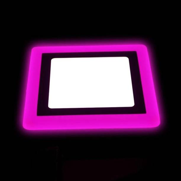Hybrix LED Square Beautiful Ceiling Panel Light 6 Watt (3+3) PP Down Light, Surface Mounted Spotlight, Dual Color 3D Effect, PINK & WHITE Combination, Ceiling Lamp 4 Inch Panel Size (Single Unit) Recessed Ceiling Lamp
