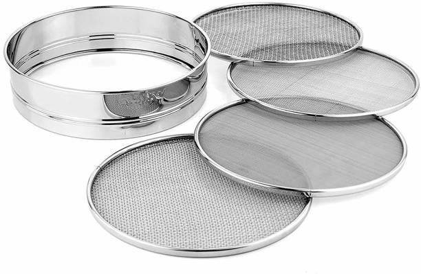 PMW Sieve - 4 in 1 Stainless Steel Interchangeable Sieve Set of 5, Flour Chalni, Spices, Food Strainers, Atta Chalni, Jaali Channi Atta Maida Strainer - Set of 5 Sieve