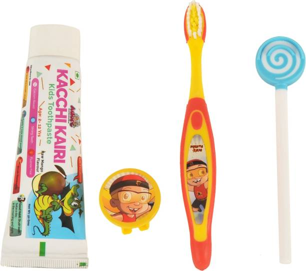 Adore Kids Oral Care Combo - 1 Premium Toothbrush with Safety Cap, 1 Food Grade Silicone Candy swirl Tongue cleaner, 1 Ayurvedic Toothpaste 50ml for Kids- Safe - Hygiene - Easy to Use- Best Combo Pack
