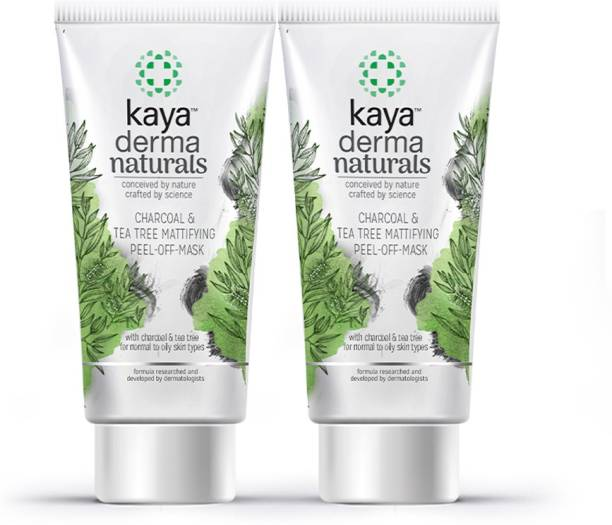 KAYA Charcoal & Tea Tree Mattifying Peel-Off Mask, for normal to oily skin types, 50 ml (Pack of 2)
