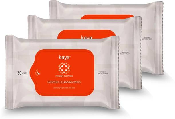 KAYA Everyday Cleansing Wipes, Face Wipes with Aloe Vera (Pack Of 3)