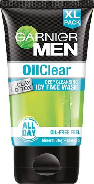 GARNIER Men Clay D-Tox Deep Cleansing Icy  for Oily Skin, 150gm Face Wash
