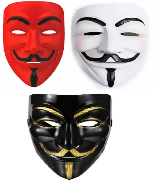 Dany Internationals V for Vendetta Comic Face Anonymous (Red,White,Black) Gift Set Party Mask (Red,White,Black Pack of 3) Party Mask