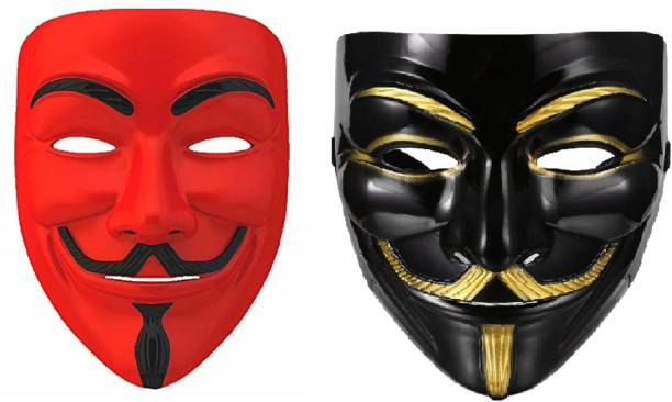 Rangbaaz Enterprises V for Vendetta Comic Face Anonymous (Red,Black) Gift Set Party Mask (Red,Black Pack of 2) Party Mask