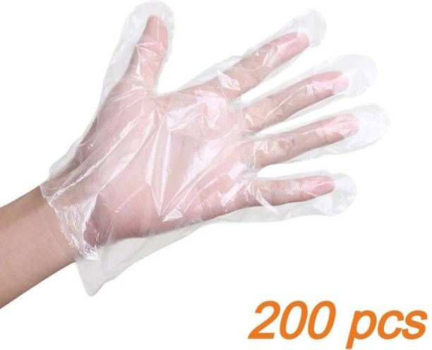 Black Bunny 200 pcs 100 pair Wet And Dry High-Density Multi-Purpose Clear Blue Eco-Friendly Cooking, Cleaning, Kitchen Food Handling Hand Gloves Set Poly Examination Gloves multipurpose gloves Polyisoprene Examination Gloves