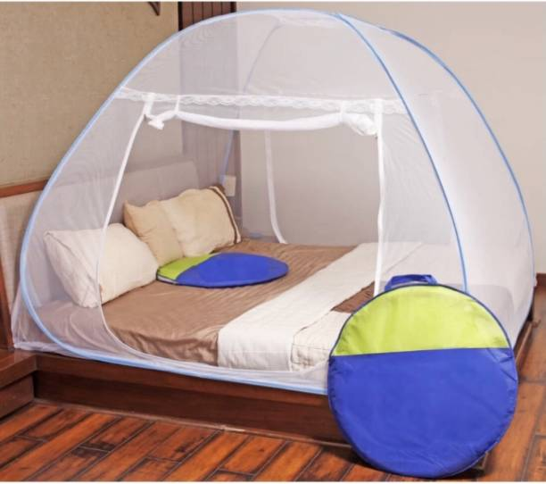 CUBRIR Polyester Adults Blue Double Bed Mosquito Net