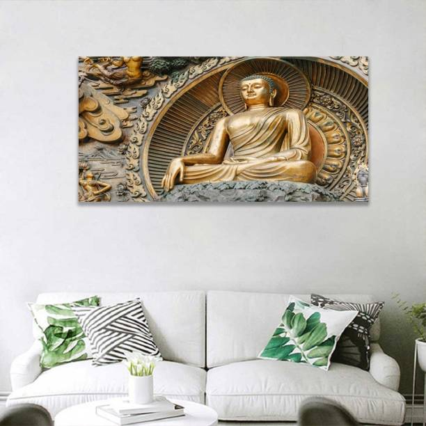 3D Buddha ki murti Gold Painting Poster Wall Art Poster For Wall Print Pictures For Living Room Modern Home Decoration Without Frame Paper Print (48 inch X 24 inch) Paper Print