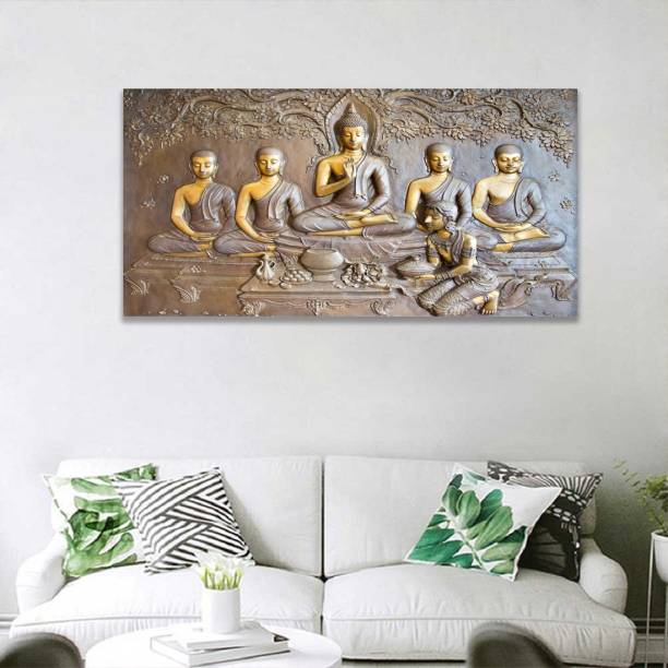 3D Buddha murti Gold Painting Poster Wall Art Poster For Wall Print Pictures For Living Room Modern Home Decoration Without Frame Paper Print (48 inch X 24 inch) Paper Print