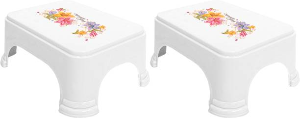 KUBER INDUSTRIES Floral Print 2 Pieces Plastic Anti-Slip Bathroom Stool, White Stool
