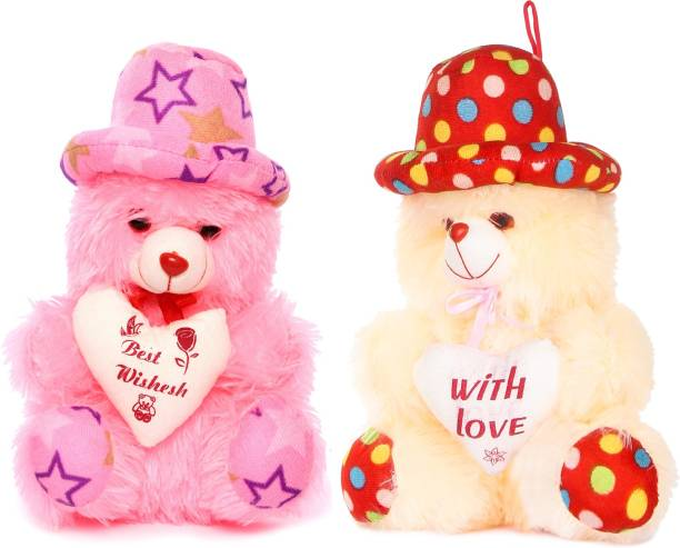 Fclues Soft Toy Teddy Bear For Baby For Baby Set of 2 Color CR & PK  - 30 cm