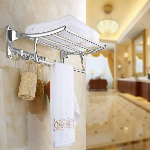 SHP SHP TRUSTED STAINLESS STEEL SONI FOLDING TOWEL RACK/DOUBLE TOWEL ROD/TOWEL ROD/FOLDABLE RACK/ROLLING RACK/WALL MOUNTED SET OF 1 (SILVER) 24 inch 1 Bar Towel Rod