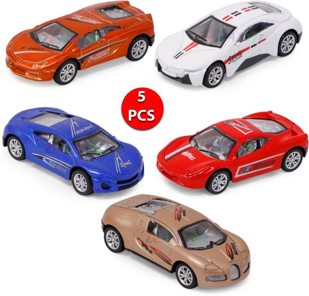 FIDDLERZ Die cast Cute Mini Pull Back Metal Racing Car Set | Crawling Vehicle Toy for Kids - Set of 5 (Multi Color)