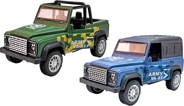 Toyshack Pull Back Die Cast Military Off Road Jeeps with Rubber Wheels & Door Opening for Kids, Multicolor