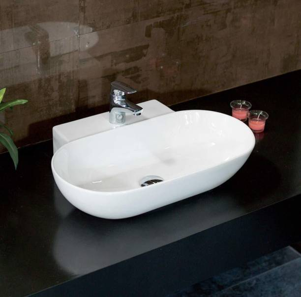 Tap & Tile Most Ceramic Wall Hung Wash Basin/Glossy Finish/Wall Hung/Wall Mounted Bathroom Sink/Super White Color (Ryno) - 550 x 440 x 135mm, Medium Table Top Basin