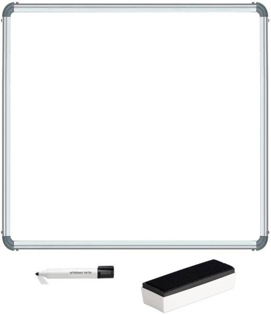 Rissing traders Non Magnetic Melamine Whiteboard 2X2 ft one Side White Marker and Reverse Side Chalk Board Surface with 1 Marker and 1 Duster Whiteboards